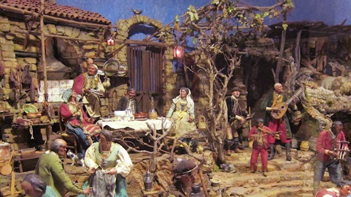Escena del belén napolitano del Museo de Historia de Madrid