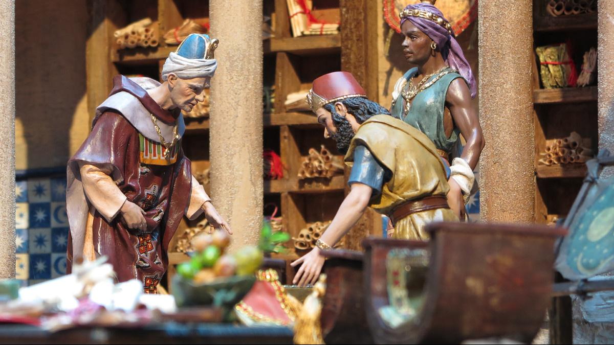 Representación de una reunión de los tres Reyes Magos