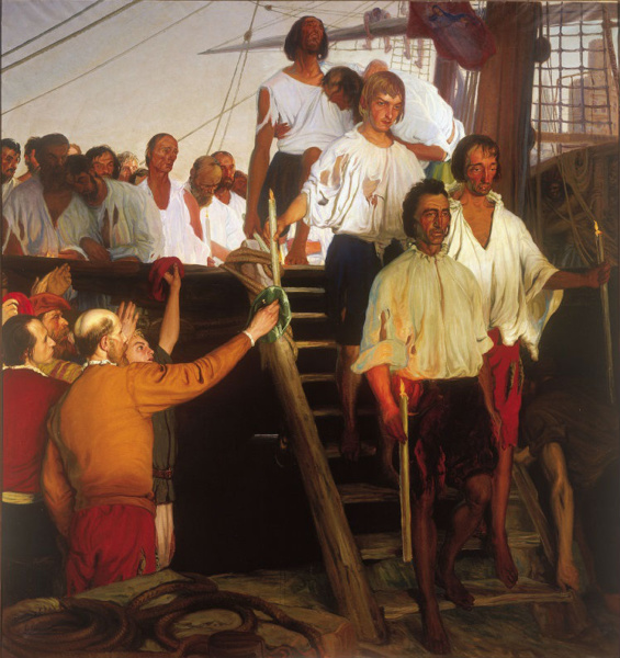 Representaciión pictórica del regreso de Elcano