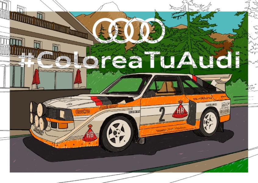 Audi pone a disposición de los peques ilustraciones de tres de sus modelos deportivos.