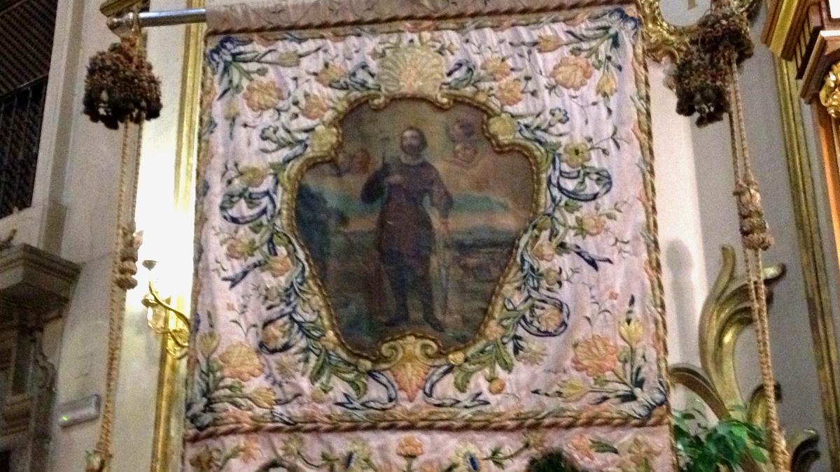 Estandarte con la imagen de San Isidro, patrón de Madrid