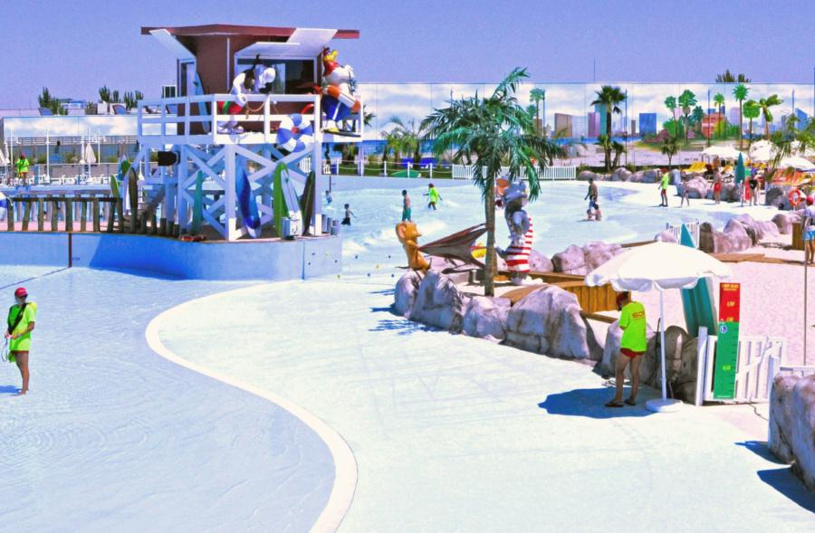Vista de una de las 'playas' del parque acuático Warner Beach