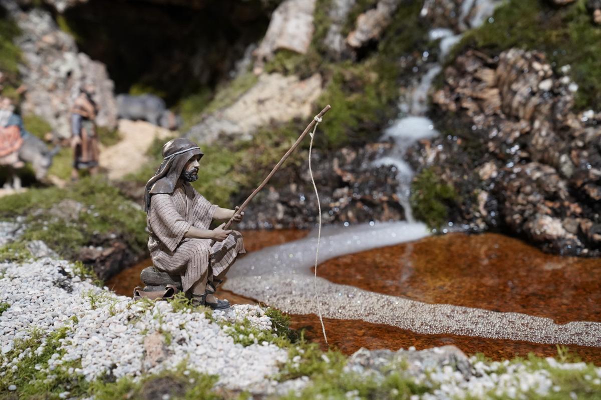 Escena con agual del belén de Cibeles en las navidades 2020-2021