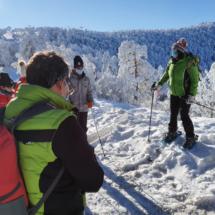 Es interesante que el primer paseo con raquetas de nieve sea con guía